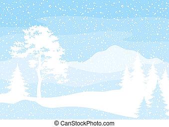 fond, noël arbres, neige