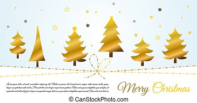 fond, noël arbres, plat, vecteur, joyeux, or, bleu, carte