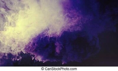 fond, noir, coloré, fumée