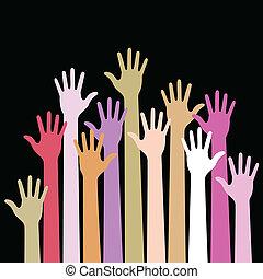 fond, noir, haut, coloré, mains