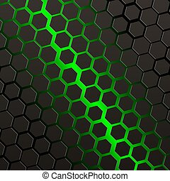 fond, noir, hexagones, vert