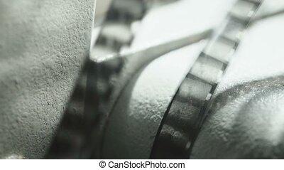 fond, noir, projecteur, bande, vieux, vidéo