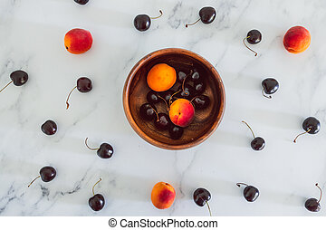 fond, nourriture, simple, abricots, cerises, marbre, bois, frais, bol, ingrédients