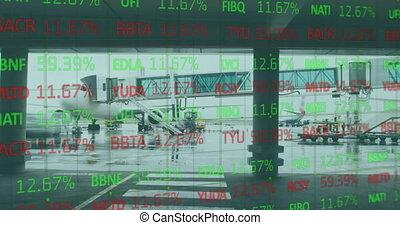 fond, numérique, données, stockage, contre, composite, marché, aéroport, vidéo, traitement