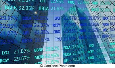 fond, numérique, données, stockage, contre, gratte-ciel, grand, composite, marché, vidéo, traitement