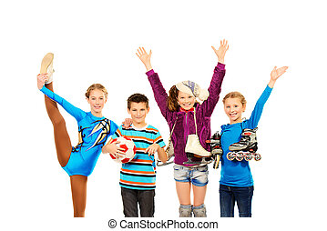 Group of children, fond of different sports, standing together and smiling. Isolated over white.