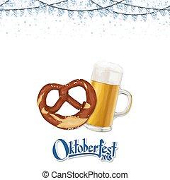 fond, oktoberfest, bretzel, bière