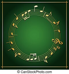 fond, or, cadre, -, vecteur, vert, décorations, émeraude, musique, rond