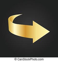 fond, or, isolé, illustration, flèche noire