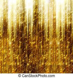 fond, or, résumé, sombre, étoiles, tir