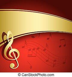 fond, or, -, vecteur, musique, aviateur, décorations, rouges