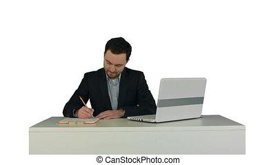 fond, ordinateur portable, isolé, écriture, papier, humain, blanc, main