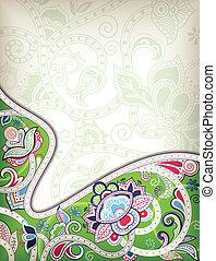 fond, oriental, floral