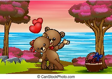 fond, ours, couple, nature, teddy