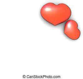 fond, paire, cœurs, blanc rouge, 3d