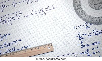 fond, papier, école, closeup, éléments, formule mathématique