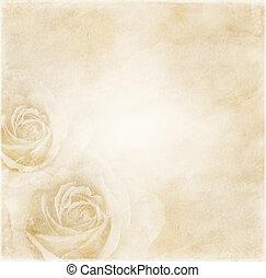 fond, papier, roses
