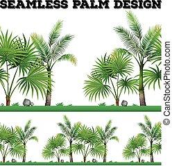 fond, paume, seamless, arbres