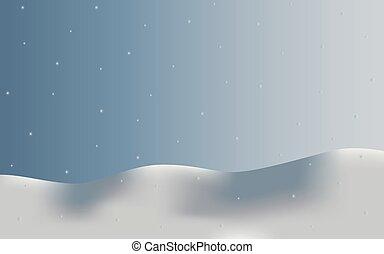 fond, paysage neige, flocons neige