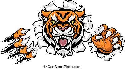 fond, percée, griffes, tigre