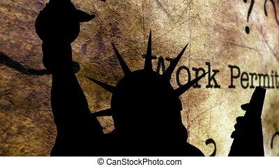 fond, permis, contre, statue, travail, liberté