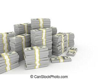 fond, pile, blanc, isolé, dollars.