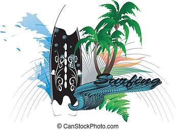 fond, planche surf
