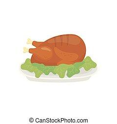fond, plat, poulet, blanc, cuit, dîner, salade verte