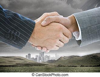 fond, poignée main, paysage, business, bâtiments