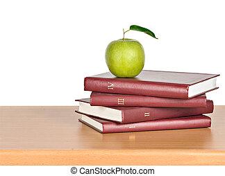fond, pomme, vert, livres, tas, blanc