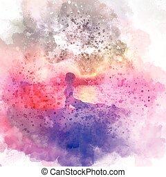 fond, pose, yoga, aquarelle, femme