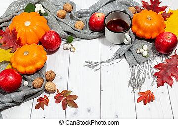 fond, potirons, thé confortable, automne