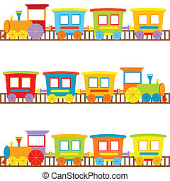 fond, pour, gosses, à, dessin animé, trains