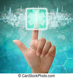 fond, presse, monde médical, main, symbole