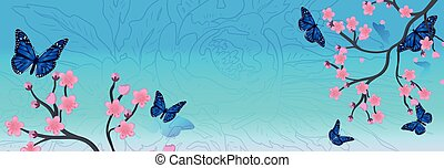 fond, printemps, blossom., printemps, vecteur, sakura, branche, cerise