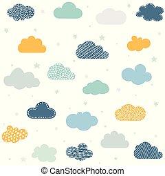 fond, puéril, nuages, seamless, étoiles