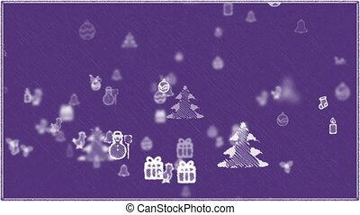 fond, purple., -, noël, éléments