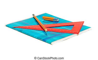 fond, règle, cahier, gomme, blanc, crayon