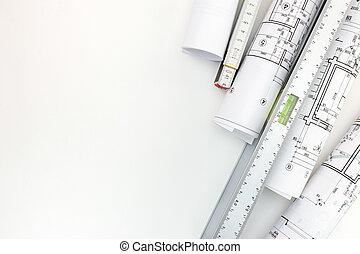 fond, règle, niveau, zigzag, esprit, architectural, blanc, rouleaux, modèles