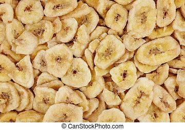 fond, résumé, chips, banane, texture