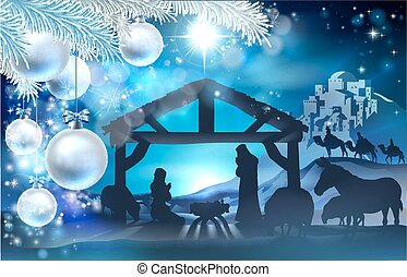 fond, résumé, nativity noël