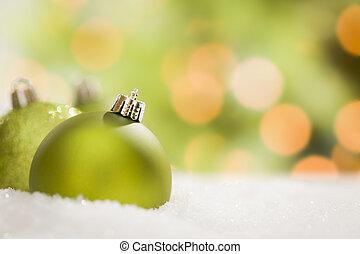 fond, résumé, neige, noël, vert, ornements, sur