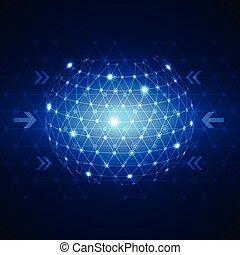 fond, résumé, réseau, technologie, business, global, concept