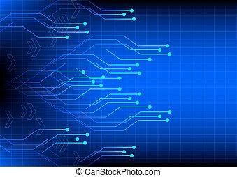 fond, résumé, technologie numérique, bleu, électronique