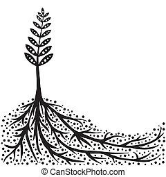 fond, racines, plante