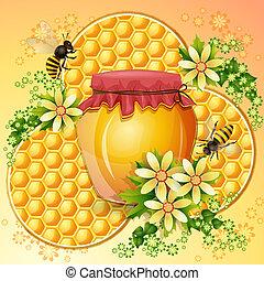 fond, rayon miel