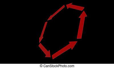 fond, rendre, flèche, blanc, icône, rouges, 3d