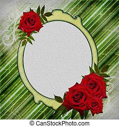 fond, roses, rayé, vert, cadre, rouges