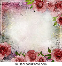 (, fond, roses roses, set), vert, 1, vendange