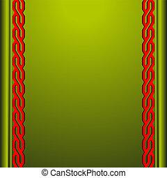 fond, rouge vert, ornements